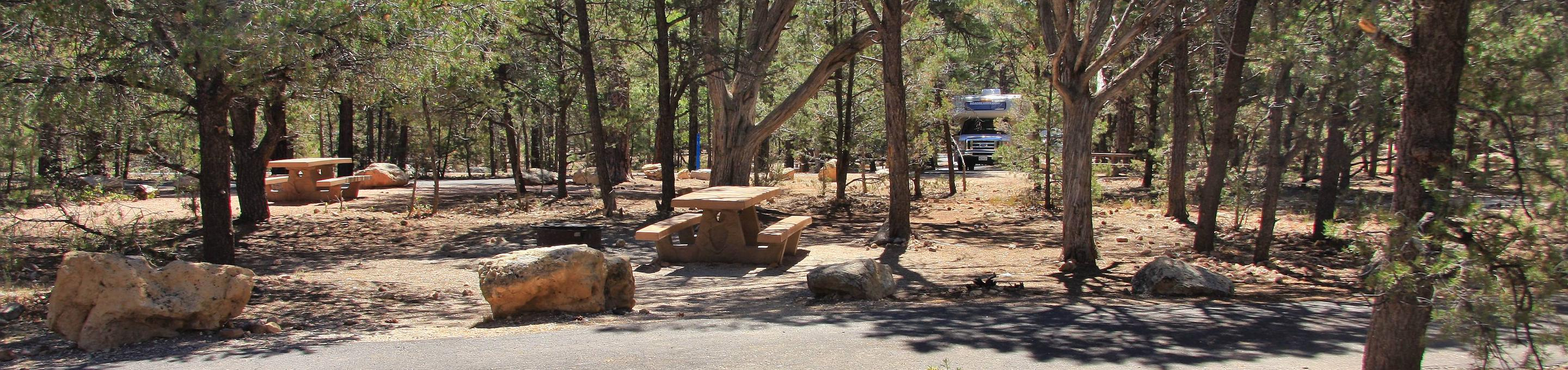 Picnic table, fire pit, and parking spot, Mather CampgroundThe picnic table, fire pit, and parking spot for Aspen Loop 36, Mather Campground