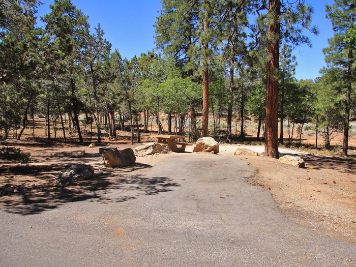 Picnic table, fire pit, and parking spot, Mather CampgroundThe picnic table, fire pit, and parking spot for Aspen Loop 38, Mather Campground
