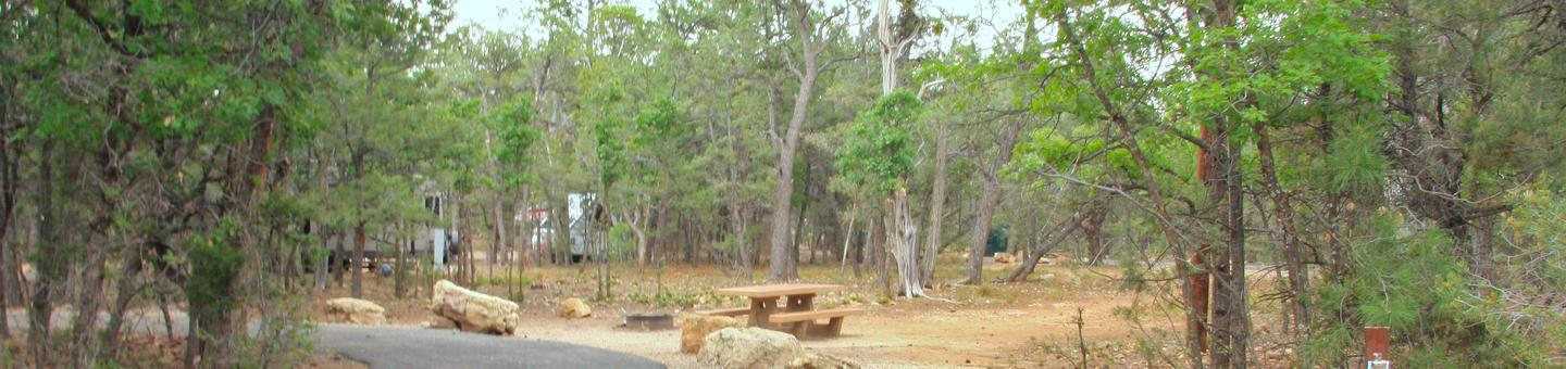Picnic table, fire pit, and parking spot, Mather CampgroundThe picnic table, fire pit, and parking spot for Aspen Loop 45, Mather Campground
