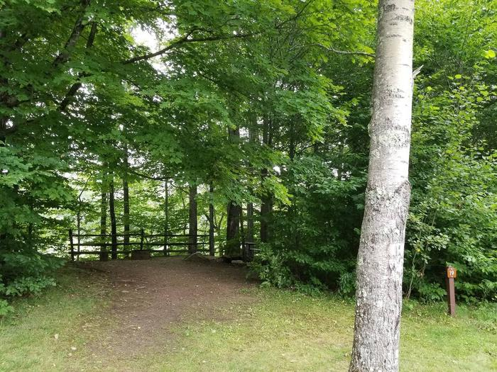 campsite with picnic table, fire ring, and split rail fence in wooded areacampsite 19