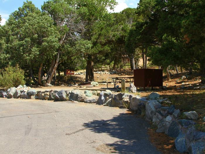View of Site #29 parallel parking area, stairs, designated tent pad, picnic table, bear box, and fire ring.Site #29, Pinon Flats Campground