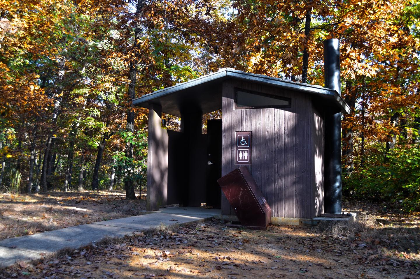 White Rock Mountain, Vault ToiletVault toilet located in the center of the campground.