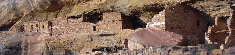 Ancient stone masonry village set in a cliff alcoveMug House