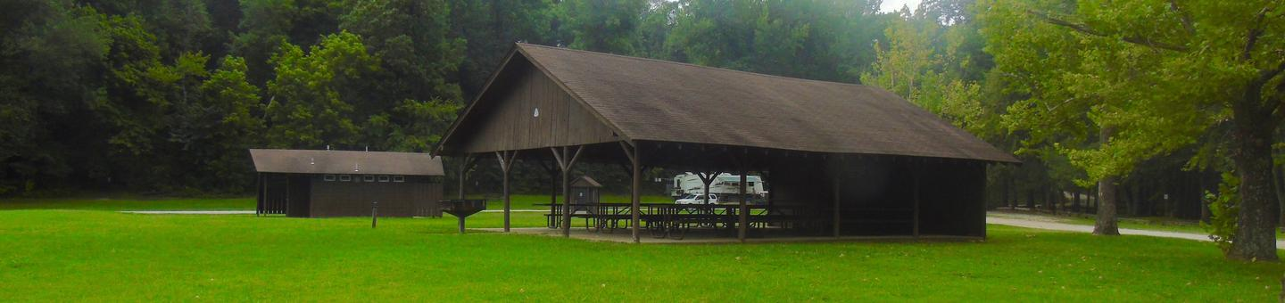 Ozark Pavilion in located in the Ozark Campground.Ozark Pavilion.