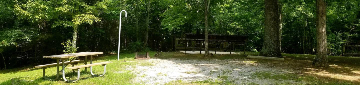 Trees shadow over gravel parking pad with picnic table nearbyBear Creek Horse Camp