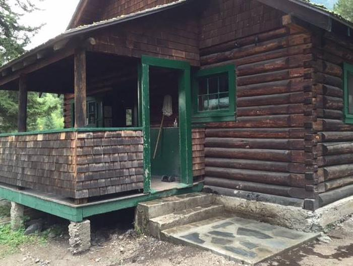 Rear porch at Big Creek CabinNew landing