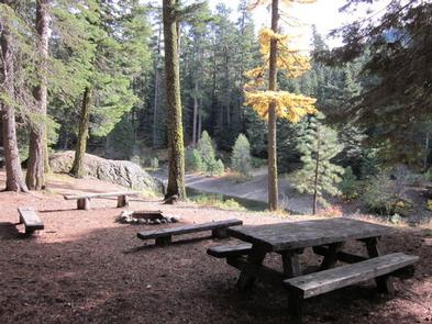 Picnic table in front of campfire ring and benches on a slope overlooking a forested backdrop.CLEAR LAKE GROUP SITE