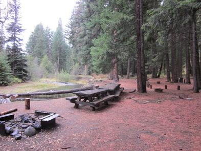 Fire ring and picnic tables overlooking calm creek flowing through conifer forest.INDIAN FLAT GROUP SITE