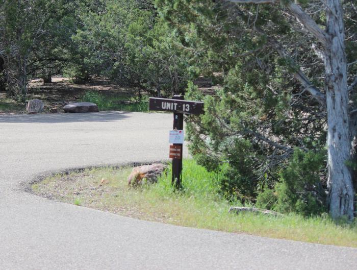The site identifier is locate at the entrance of the parking area for this site.Cedar Springs Campground: Site 13
