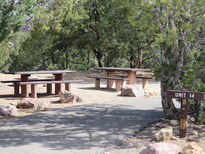 This site has two picnic tables in a gravel area next to the parking lot.Cedar Springs Campground: Site 14