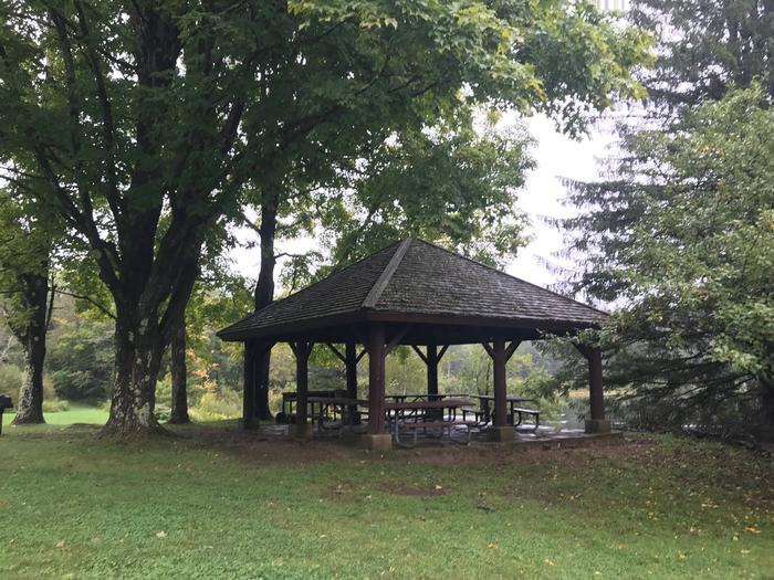 Pavilion with picnic tables in wooded areaPicnic Pavilion 1