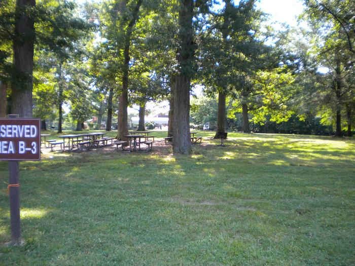 Photo of Picnic Area B3, showing the tables among the trees for shadeArea B3 is located in the middle of the B picnic areas.  Near the parking lot with restrooms on both sides of the field.
