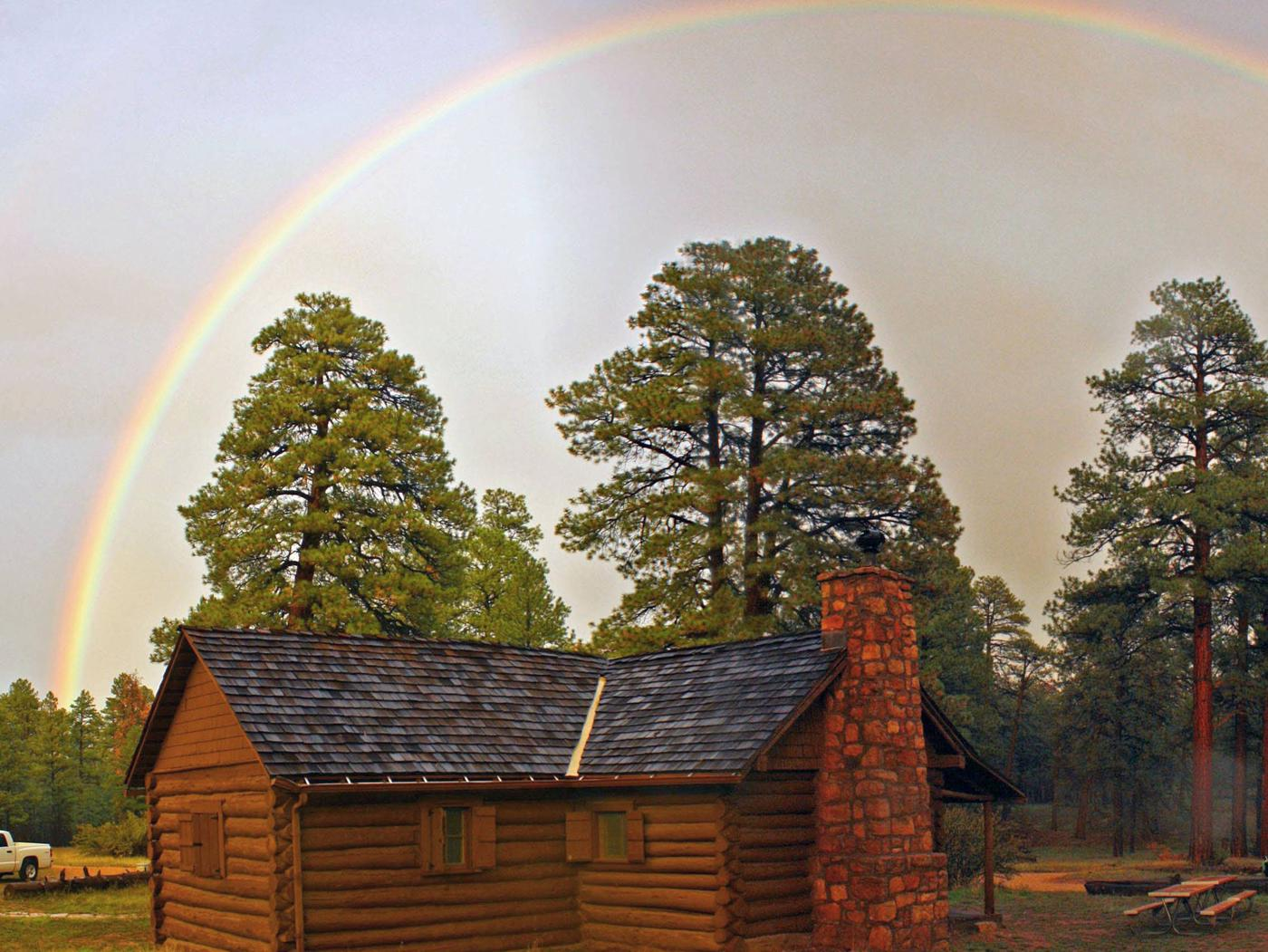 Magic on the southrimRainbow over Hull Cabin during monsoon storm