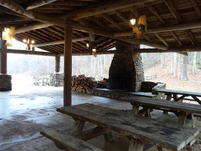 Fireplace and picnic tables at Katy Branch