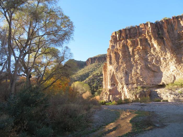Aravaipa Canyon WildernessAravaipa Creek winds past the mouth of Hell Hole Canyon.