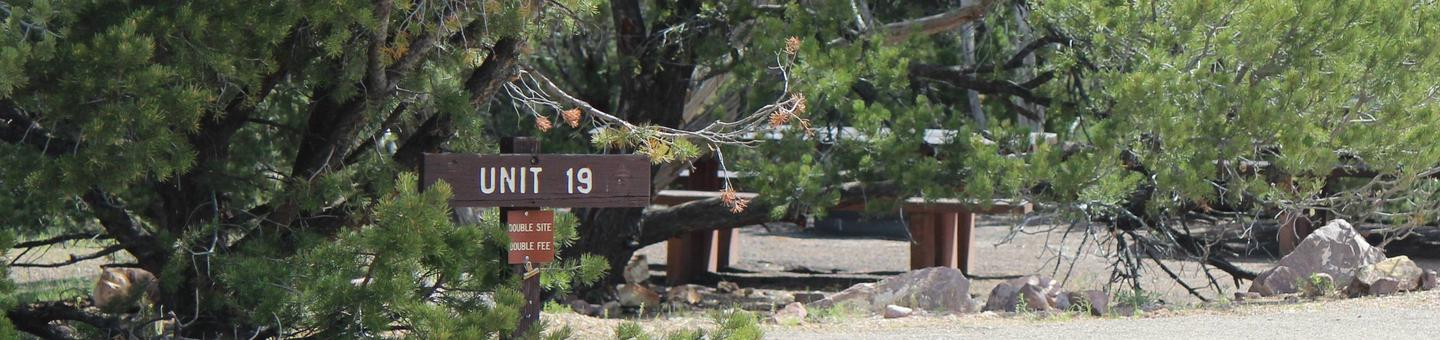 Picnic table and fire pit in a gravel area in the middle of a group of trees. Identifier sign marks the beginning of the site.Cedar Springs Campground: Site 19