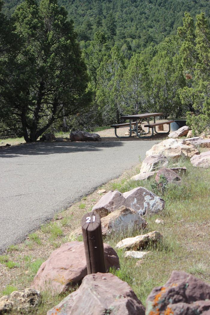 Picnic table and fire pit in a gravel area at the end of the parking area for this site. Site identifier is found at the beginning of the parking area of this site.Cedar Springs Campground: Site 21
