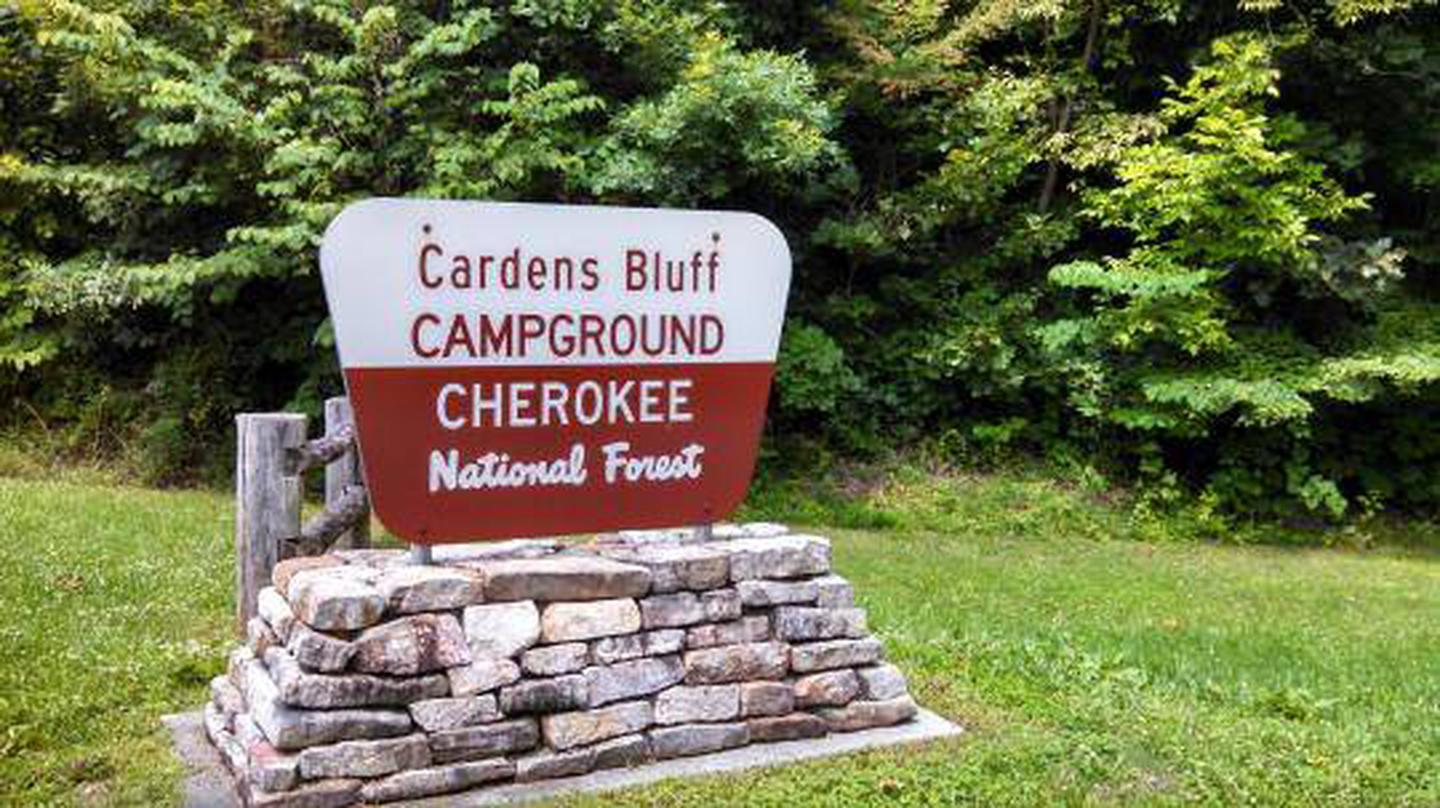 Entrance Sign at Cardens Bluff Campground