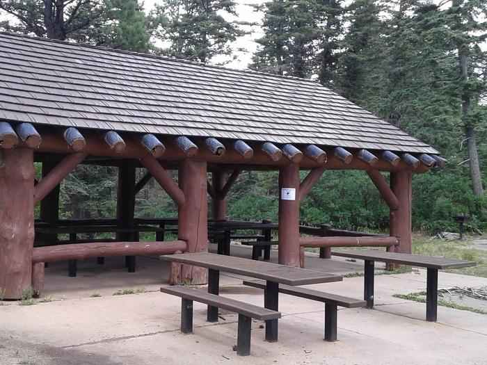 This is a picture of a pavilion with picnic tablesBalsam Glade Group Picnic Pavilion Site