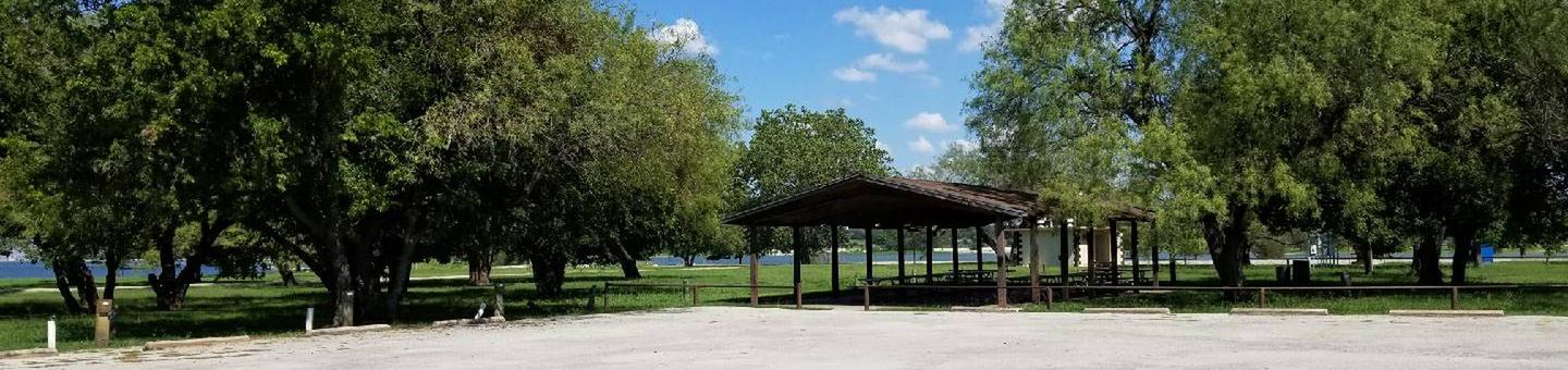 Group Shelter at Mustang Park surrounded by treesGroup Shelter at Mustang Park