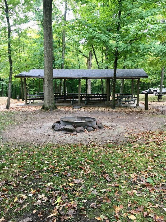 Group loop group shelter and fire ring (entire photo)