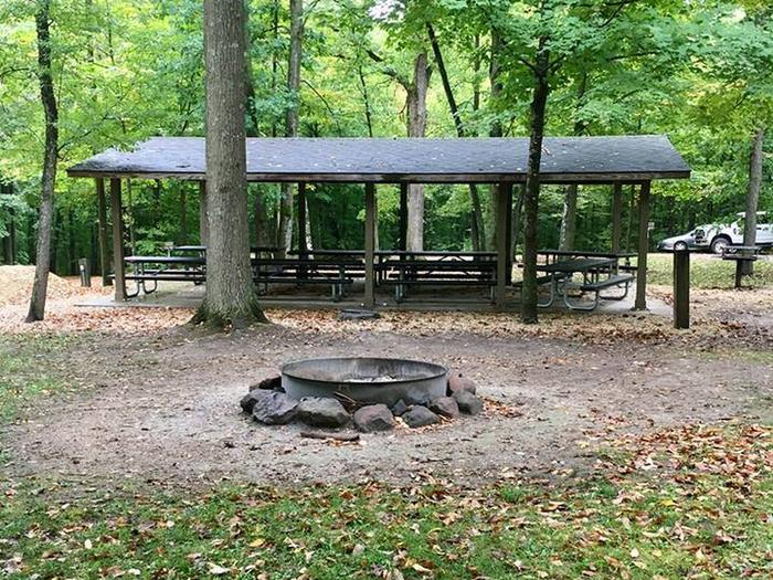 Group loop group shelter and fire ring