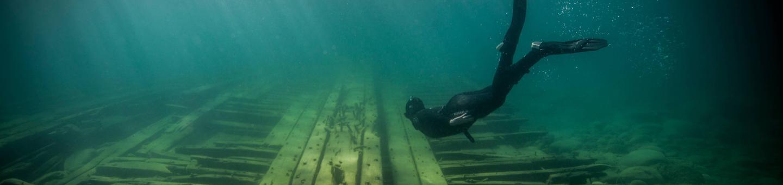 Thunder Bay National Marine SanctuaryA snorkeler explores a wreck in Thunder Bay National Marine Sanctuary