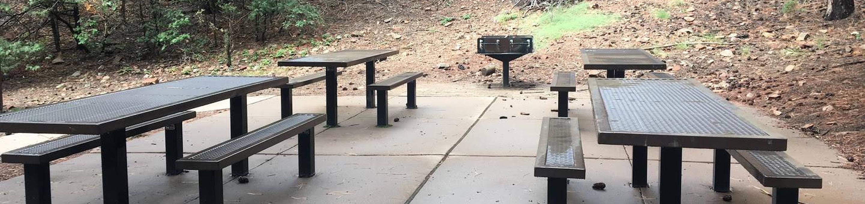this is a picture of picnic tables in the group siteGroup site picnic tables