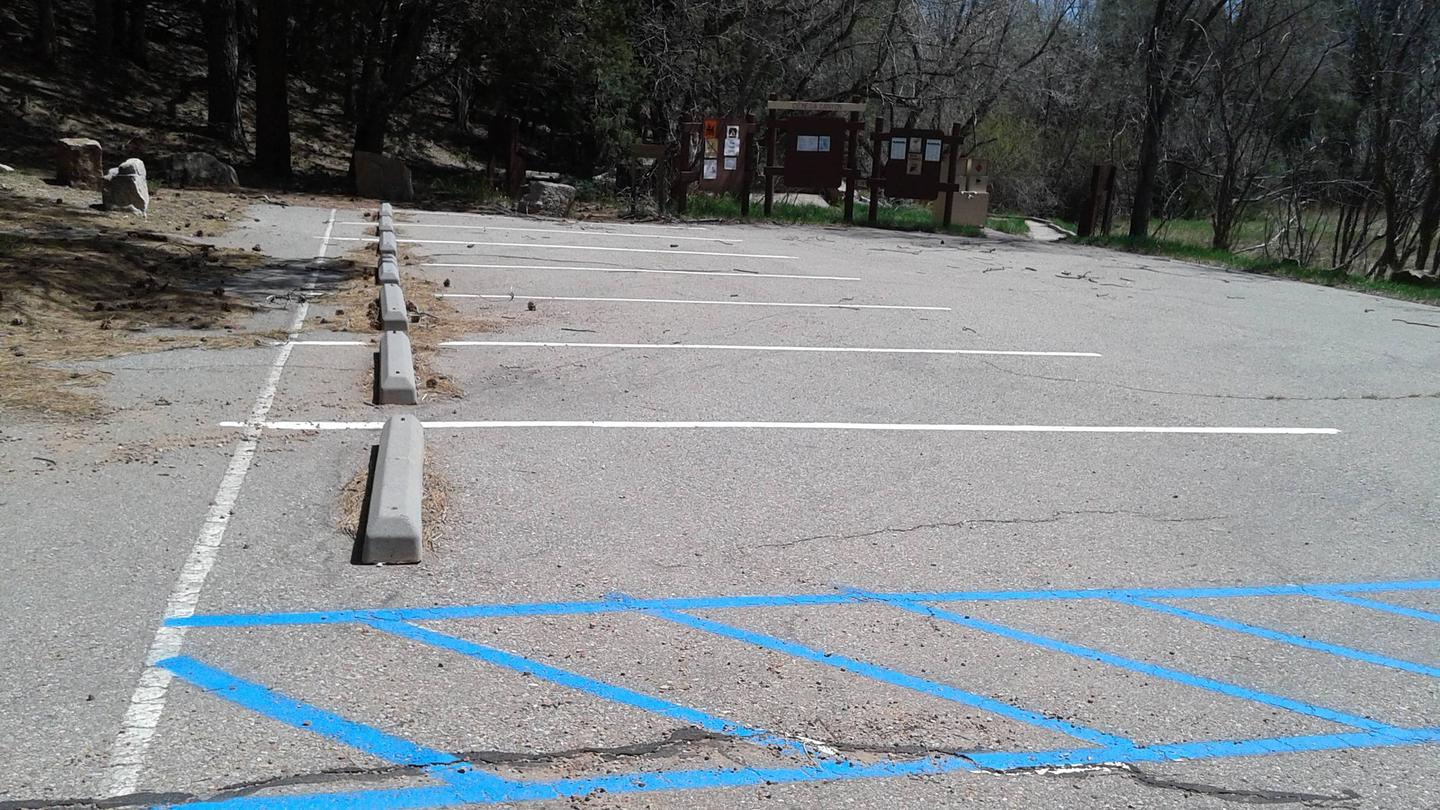 this is a picture of the group site parking lotPaved accessible parking