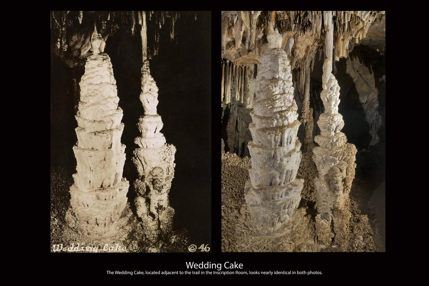 Two images of the same cave speleothems , one from 1928, the other from 2016. They look the same with stalagmites growing in what looks like layer like a weeding cake. A historic photo from 1928 next to an image taken in the same spot in the cave in 2016.