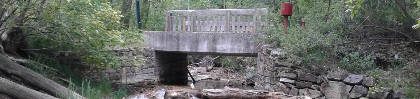 this is a picture of a bridge over a streamBridge in Las Huertas to access back part of the Picnic area along with the reservable group site.