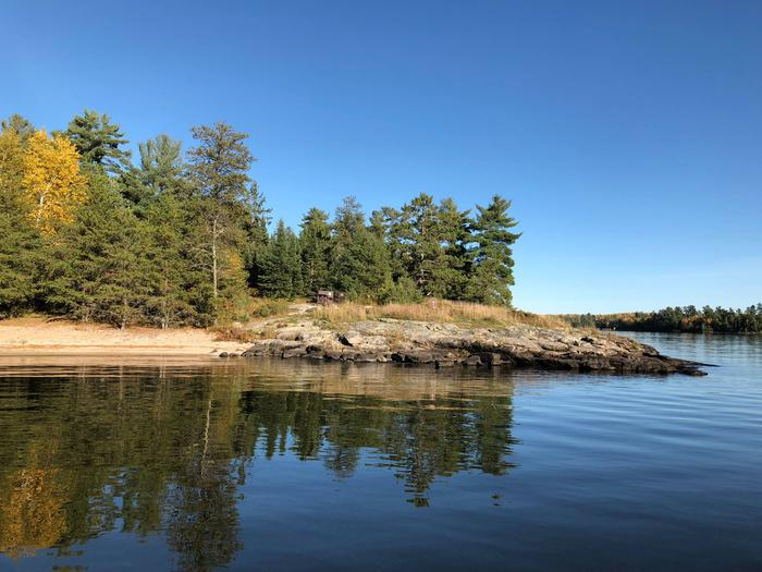 Campsite with a sand beach on Kabetogama Lake