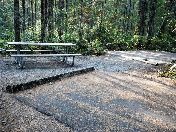 Picnic table, and tent padView of campsite