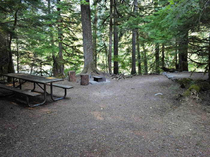 Picnic table, fire ring, and tent pad with river in distanceView of campsite