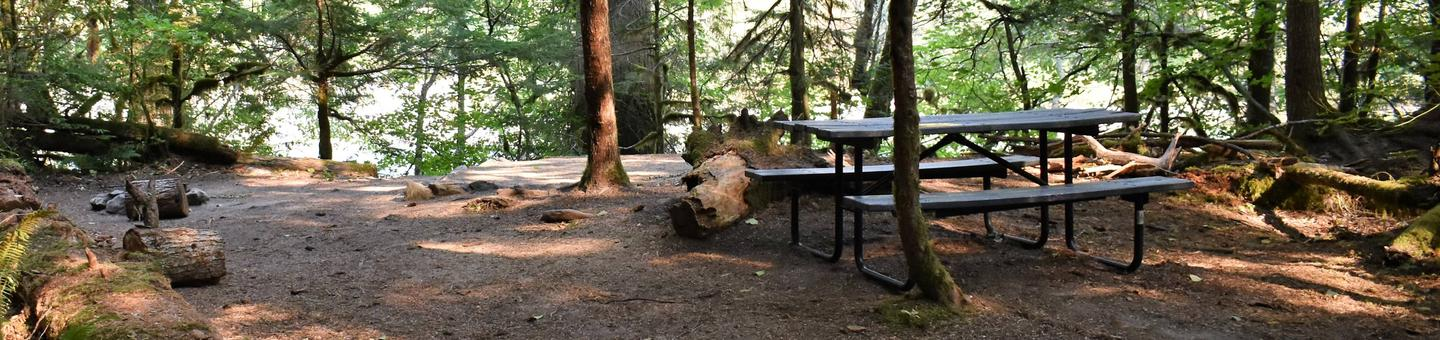Fire ring, tent pad, and picnic table with river in distanceView of campsite