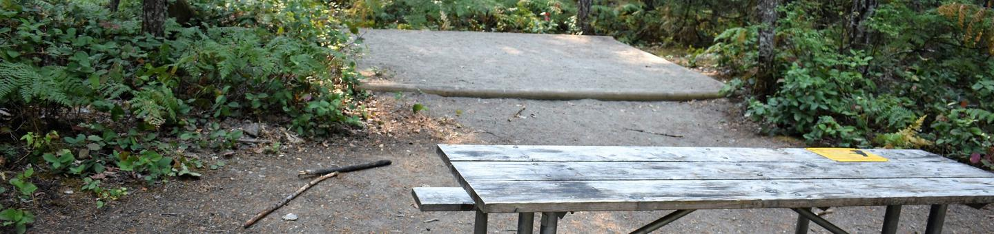Picnic table and tent padView of campsite