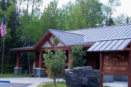 Picture of building.Fall Lake Campground Entrance Building.  Campers can register, purchase sundry items, and obtain information about the campground, surrounding area, and other recreation opportunities.