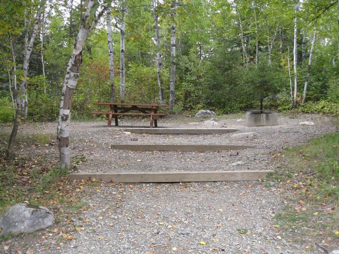 Campsite with picnic table.Typical back-in campsite with electrical hook-up.  Table and firegrate accessed via steps.