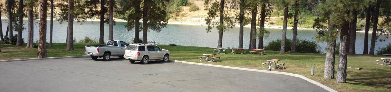 Cul-de-sac parking site overlooking the Spokane River