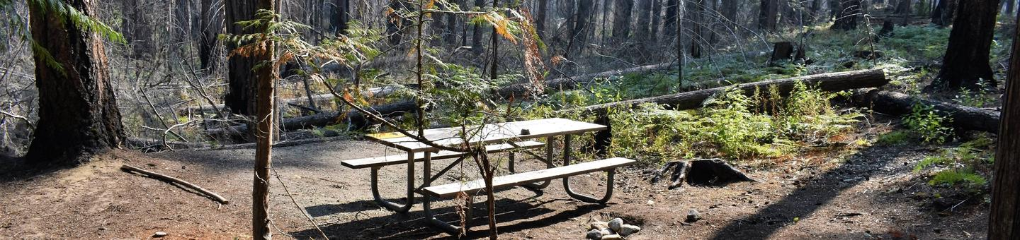Picnic tableView of campsite