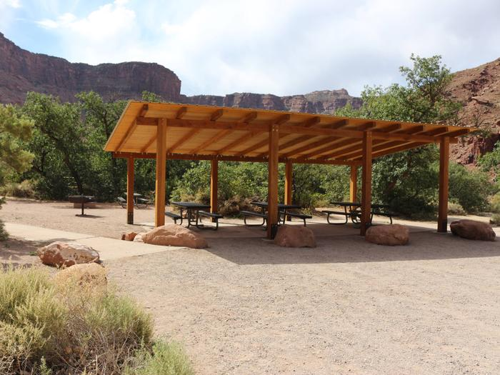 Big Bend Group Site B shade shelter.