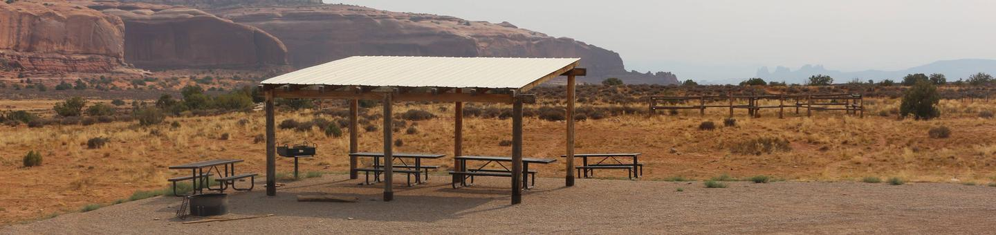 Lone Mesa Group Site A shade shelter.