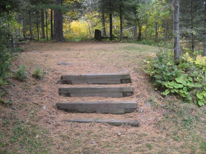 Picture of campsite.Steps leading from camping spur to table, fire ring, and tent pad