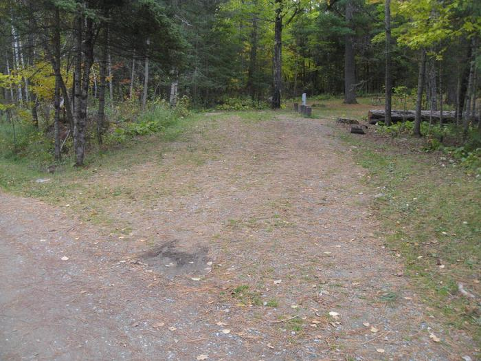 Picture of camping spur.Campsite with table, fire ring, and tent pad.  Parking spur for site 28.