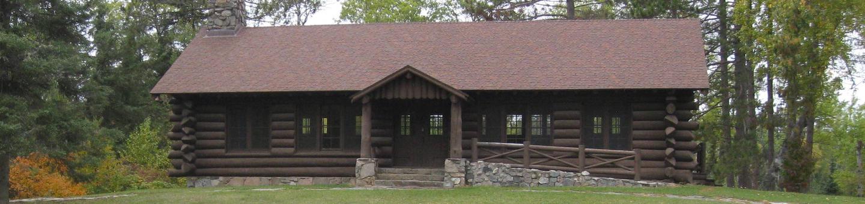 Picture of log building.Civilian Conservation Corp log pavilion.