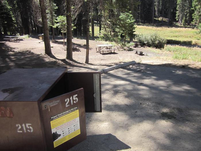 Site 205, shady, near creek and meadowSite 215, partial shade, near restrooms