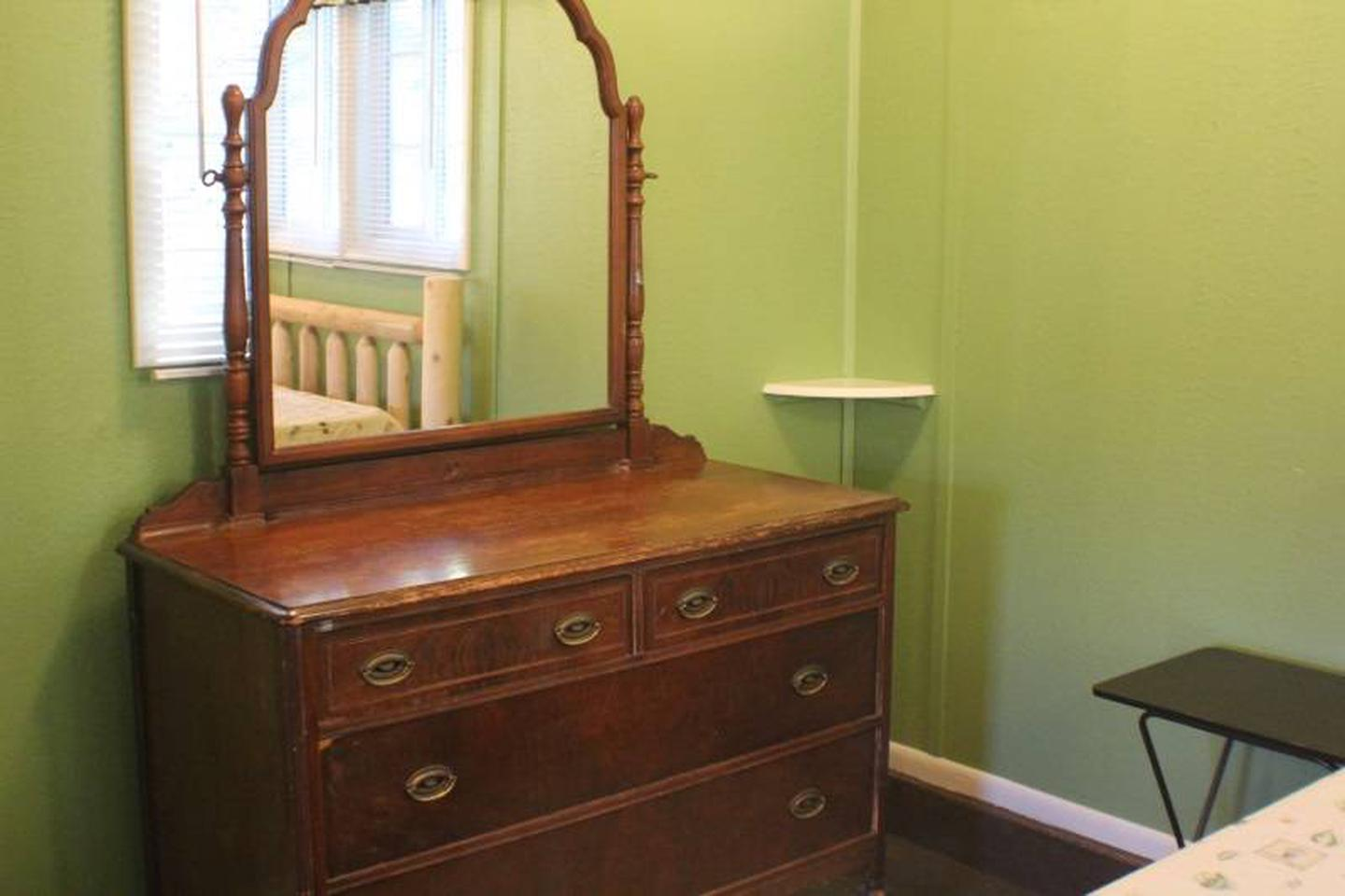 Dresser w/mirrorCabin 7: View to left of queen bed.