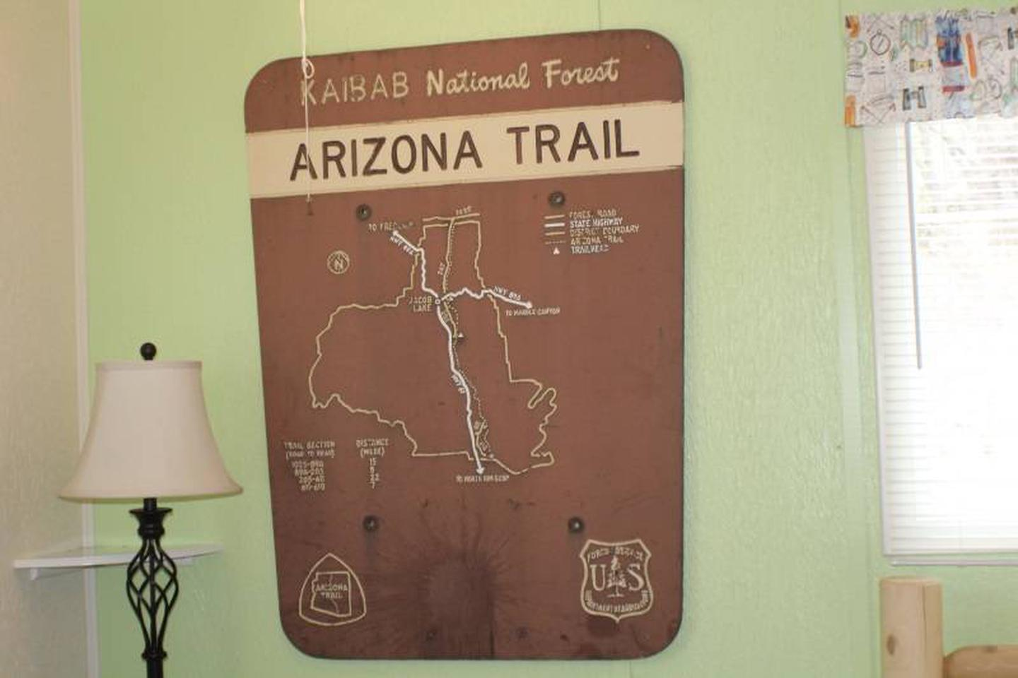 wall decorThemed decor with actual trail signs.