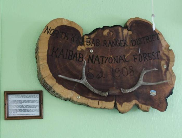 wall decorCabin 2: Timber Themed decor with actual forest service signs. This is an actual slice of Rocky Mountain Juniper from the Kaibab National Forest.