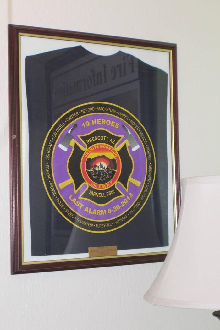 wall decorCabin 4: Fire Themed décor with tribute to the AZ Granite Mountain Hot Shots.